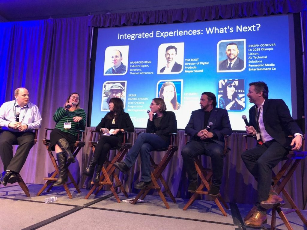 """Panlists Bradford Benn, """"Dammit"""" Liz Smith, Margot Douaihy, Sash Harris-Cronin, Joseph Conover, and Tim Boot. On stage for the Intergrated Experiences panel at the SCN ThinkTank."""